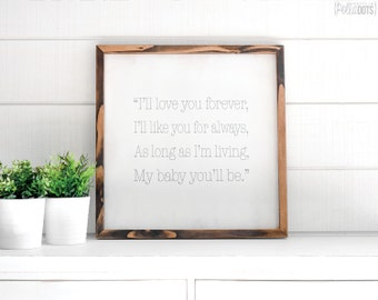 Love You Forever | FREE SHIPPING | Farmhouse Wood Sign | Shabby Chic Decor | 12x12 | 23x23 | 29x29 | 35x35