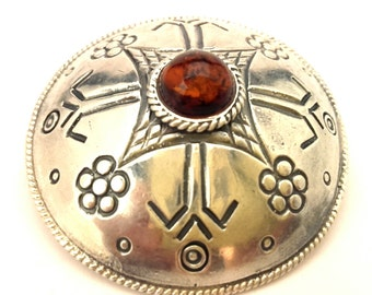 Latvian Ethnic Motive Amber Baltic Brooch Vintage Genuine 18.23 Gr Cognac Color Silver 925