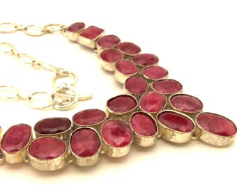 Ruby Red Necklace Excellent Collar Genuine Vintage Faceted Stone Charming Solid Silver 925