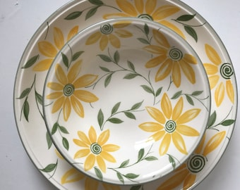 Staffordshire yellow daisy plates and bowls charming floral pattern