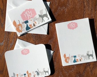 Charismatic Cat Personalized Stationery Gift Set, Monogram Stationery Set, Monogrammed Stationery, Personalized mothers days gifts ideas
