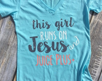 Jesus and Juice Plus Ladies Fitted Tee