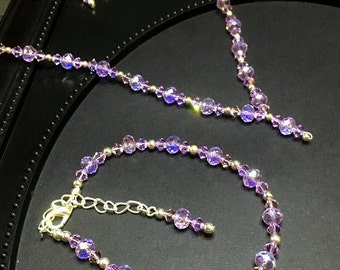 Violet Crystal Necklace Set, Gift For Her, Gothic Crystal Necklace, Gothic Bride, Swarovski Crystal Elements, Gothic Gift, Gothic Jewelry.