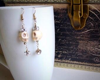 Ivory skull princess dangling earrings, handmade earrings, earrings with skulls, rocker earrings, silver earrings