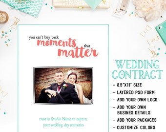 Wedding Photography Contract Template Available For Immediate Download As A Photoshop PSD Layered File - INF119BF