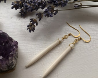 Vanilla Spearrings — bone white howlite points spears fangs spikes wire-wrapped gold tarnish-resistant gold-plated ear wire earrings