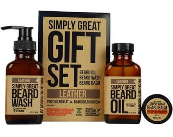 Beard Oil LEATHER Simply Great Gift Set by Simply Great