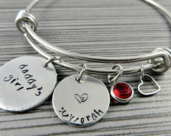 Daddy's Girl  Charm Bangle / Personalized Charm Bracelet / Father Daughter Bracelet / Adjustable Wire Bangle
