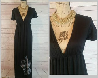 Boho Black Maxi Dress with Plunging Neckline Silver Abstract Flower Hem Size Small Medium Vintage 1970s I Witchy Wiccan Hippie Gypsy