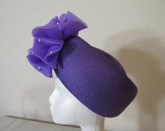 Vintage Bellini Originals Purple Pillbox hat