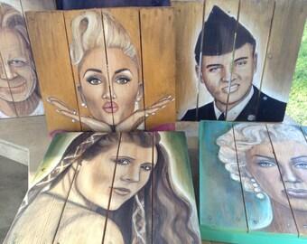 Custom Celebrity Painting on Wood, Artist Commission 14x14