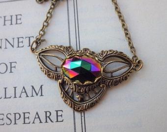 Boho Purple Green Pendant ~ Vintage Style ~ Green Iris ~ Boho Vibe ~ Vintage Glass ~ SET AVAIL ~ by LadyoftheLakeJewels