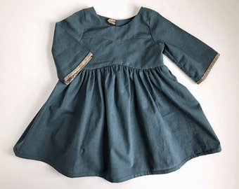 Organic Cotton Blue Bohemian dress / Fall Dress/ Gardenia dress/ Girls Organic dress