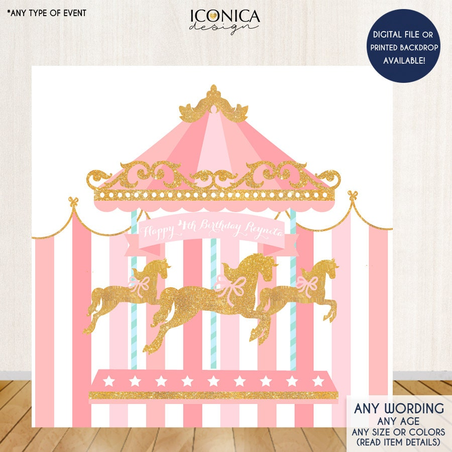Carousel Backdrop Horse First Birthday Any Age Pink Circus