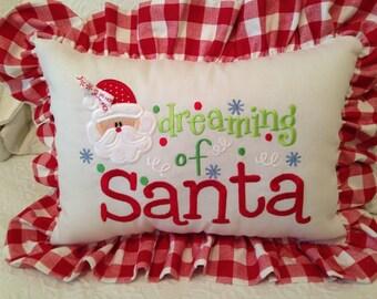 Dreaming of Santa Pillow, Christmas Pillow, Santa Pillow