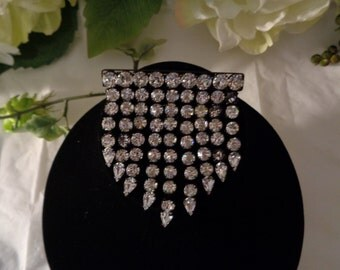 Black Japanned Finish Clear Rhinestones Massive Brooch Articulated