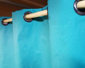 """OUTDOOR 1 Pair Custom Drape Curtain Panels Either Flat Rod Pocket OR Grommets in Outdoor Waterproof Oxford Sailcloth Teal Blue 54""""W"""