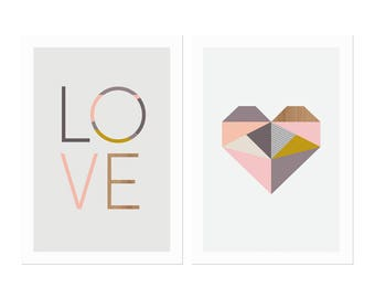 Love and Heart Prints, Series of two prints. Nursery art, girl art, kids art, scandinavian, baby art, modern nursery art, nursery decor.