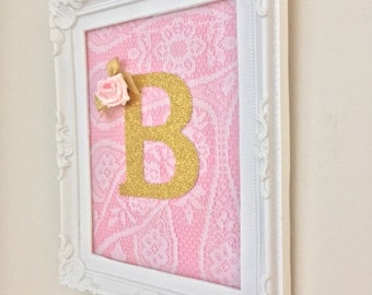 """Personalised initial letter in a white vintage style frame 8x10"""" pink roses lace"""
