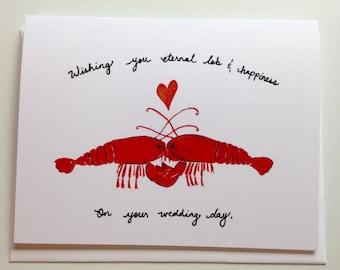 lobster wedding card 4.25x5.5 blank inside