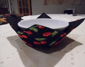 Cherry and Black Microwave Bowl Cozy / Microwave Cozy / Bowl Cozy  / Ice Cream Cozy / Microwave Bowl  Holder