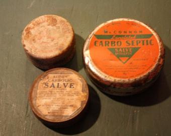 Three Vintage Salve Cannisters. McConnon/Kline's/The Good Samaritian Ointment Co.