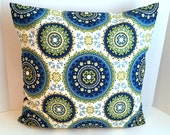 Three 20 x 20 Solarium Bindis print pillow covers/ One 20 x 20 Solid Green pillow cover