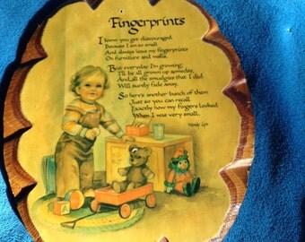 Vintage Fingerprint Poem Wooden plaque, Solid wood decoupage varnished, 9 x 11
