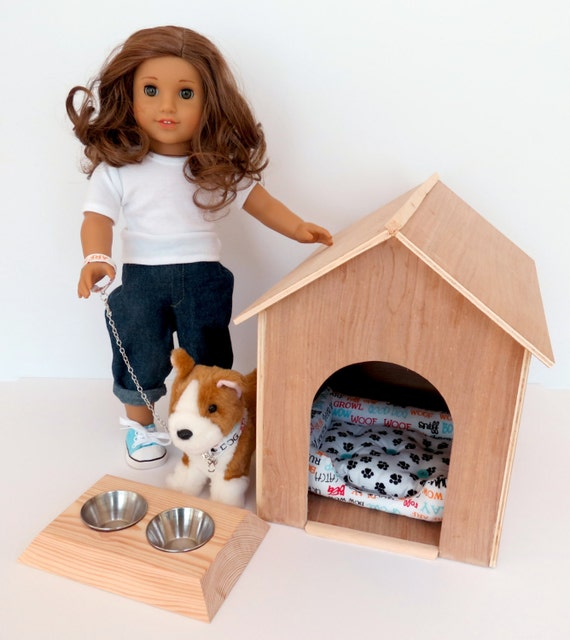 Doll DOG HOUSE Collection Handcrafted for 18 Inch dolls such as American Girl®  Dog house and optional accessories