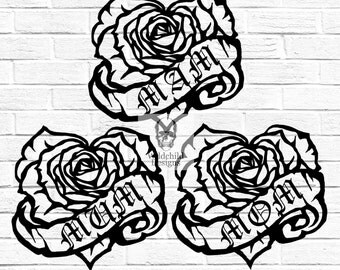 Mother's Day Tattoo Style Roses MAM MOM MUM Paper Cutting Templates Personal or Commercial Use Valentines Day Scrolls Love Papercut Cut