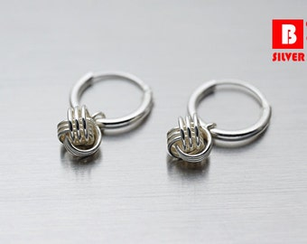 925 Sterling Silver Earrings, Hoop Earrings, Knot Hoop Earrings (Code : EY18E)