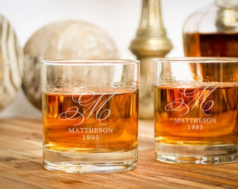 2 Monogrammed Rocks Glass, Personalized Whiskey Glass, Custom Barware: Anniversary Gift for Him, Father of the Bride Gift