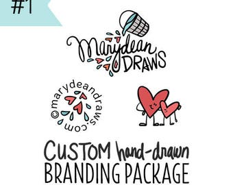Custom Hand-drawn Illustrated Small Business or Blog Branding Package / Logo Design / OOAK Branding / Custom Illustrated Branding