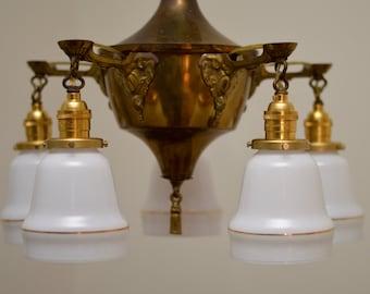Vintage Pan Light, Brass Chandelier, Vintage Lighting
