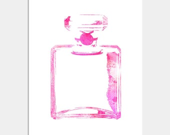 Perfume Bottle Art - Wall Decor Print - Perfume Print - Modern Home Decor - Perfume Art - Home Decor - Perfume Bottle Art Waterc