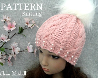 Knitting PATTERN Girls Beanie Women Hat Accessories Children Hat Knit Womens Hats Toddler Beanie Knitted Toddler Hat Girls Hats Knit Pattern