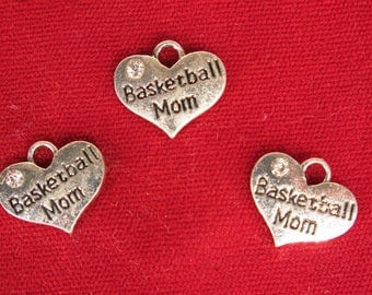 """5pc """"Basketball Mom"""" charms in antique silver style (BC1226)"""