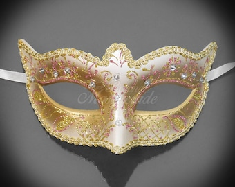 Gold Masquerade Mask with Light Pink Glitters, Bridal Masquerade Mask with Venetian Floral Designs w/ Lovely Macramé Lace Bordering