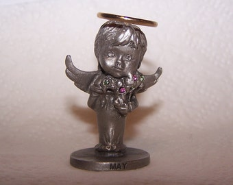 L'il Angels Pewter, Month -- MAY -- Angel, Angel Wings, Birth Month, Holiday Art, Genuine Fine Pewter, Cathedral Since 1920