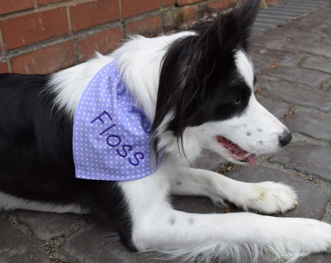 Featured listing image: Personalised Dog Bandanas, Embroidered Dog Bandana, Slip on Dog Bandana, Handmade Dog Bandana, Dog Accessories, Dog Clothing