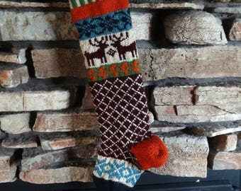 Personalized Christmas Stocking, Knit Christmas Stockings, Christmas Stocking, Christmas Stocking Knit, Burgundy Reindeer, Blue Snowflakes