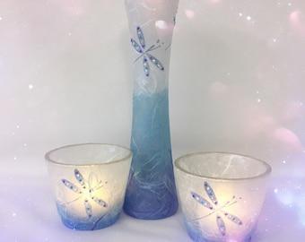 Dragonfly Vase & Tea Light Holder Set. Strawsilk Glass.