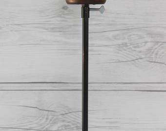 Vintage Black Metal and Wood Telescoping Hat Stand, Vintage Millinery Store Display, Vintage Metal and Wood Wig Stand
