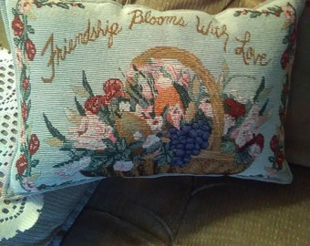 "Tapestry Friendship Pillow  ""Friendship Blooms with Love"""