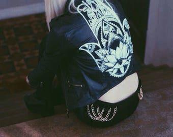 Hamsa patch leather jacket