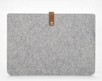 Macbook 12 Felt Sleeve - Cover for Macbook 13 Pro - Felt and Leather Macbook Cover - Leather Macbook 13 Pro Case - Grey Felt