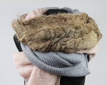 Wool Fabric And Fur Scarf/Grey/Beige/Real Fur/Genuine Rabbit Fur