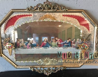Early Mid Century Ornate Framed Last Supper