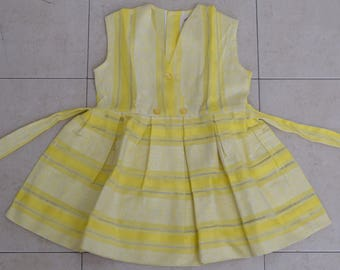 Vintage Girls Size 4 Yellow & White Pleated Dress, Sleeveless Summer Dress - NEW