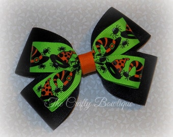 Halloween Hair Bow ~ Green & Black Bow ~ Witch Hair Bow ~ Large Black Bow ~ Large Green Bow ~ Halloween Headband Bow ~ Witch Hat Hair Bow